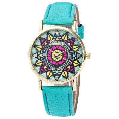 Faux Leather Strap Madala Face Watch