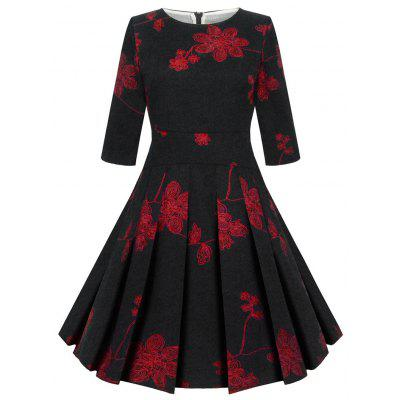 Buy BLACK L Floral Print Vinatge Fit and Flare Dress for $24.88 in GearBest store