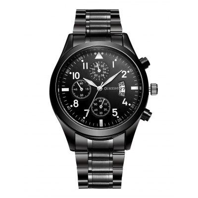 Stainless Steel Number Date Quartz Wrist Watch