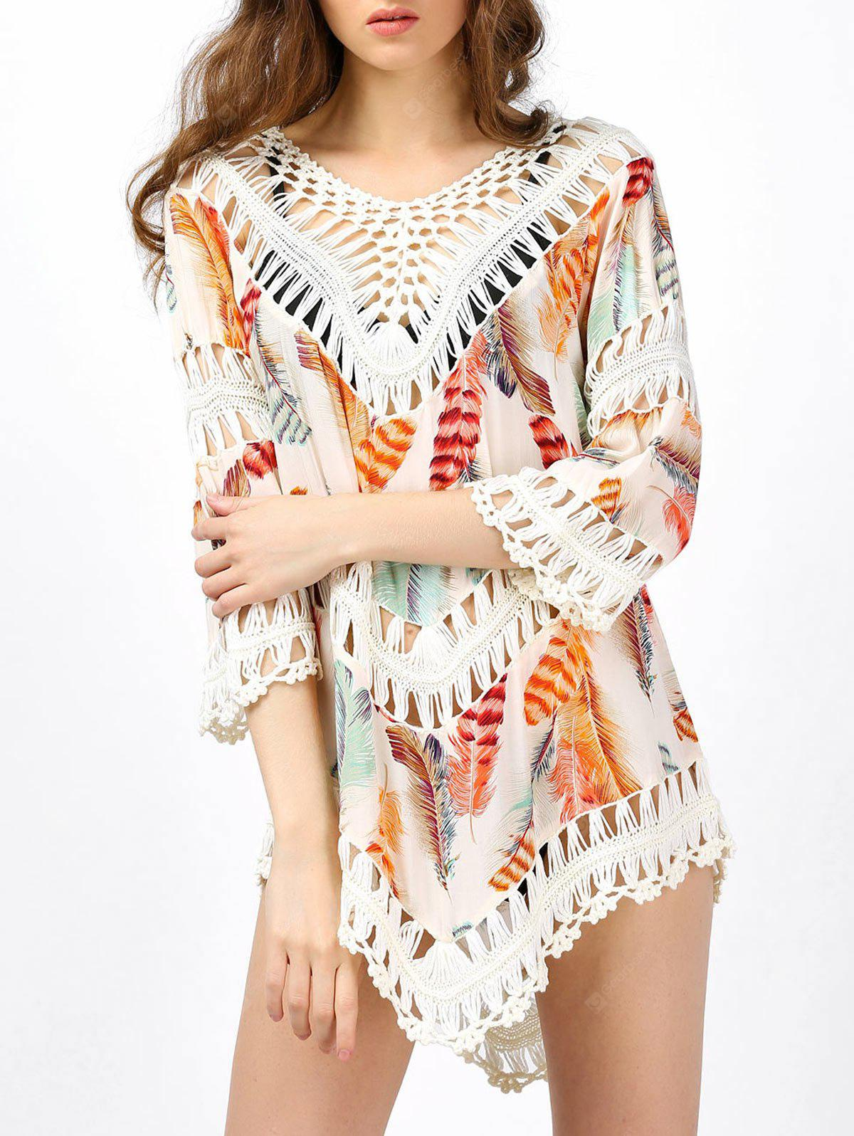 Crochet Insert Hollow Out Beach Cover Up