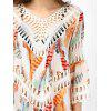 Crochet Insert Hollow Out Beach Cover Up - OFF-WHITE