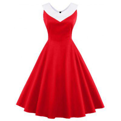 V Neck Vintage Skater Swing Dress
