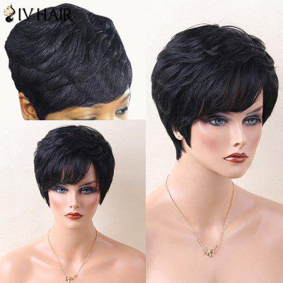 Buy JET BLACK 01# Siv Hair Layered Short Inclined Bang Straight Human Hair Wig for $52.68 in GearBest store