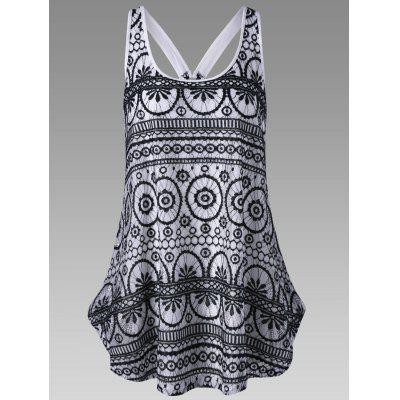 Buy WHITE AND BLACK M Racerback Lace Dressy Tank Top for $17.60 in GearBest store