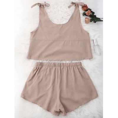 Lace Applique Drawstring Loungewear SuitPajamas<br>Lace Applique Drawstring Loungewear Suit<br><br>Material: Polyester<br>Package Contents: 1 x Top  1 x Shorts<br>Pattern Type: Others<br>Weight: 0.3200kg