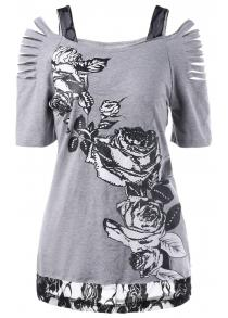 Ripped Lace Trim Floral T-Shirt