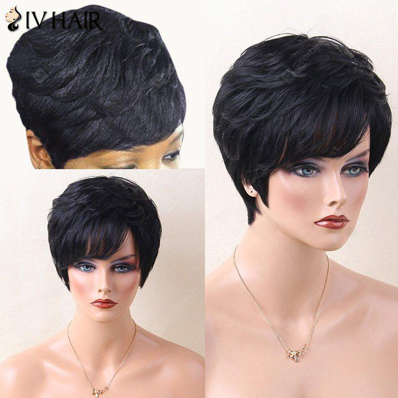 Siv Hair Layered Short Inclined Bang Straight Human Hair Wig