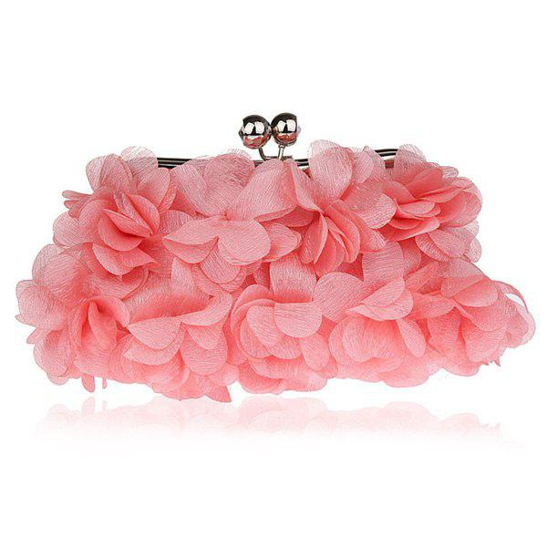PINK Kiss Lock Satin Petal Evening Bag