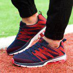 Buy Geometric Pattern Color Block Athletic Shoes 40 DEEP BLUE