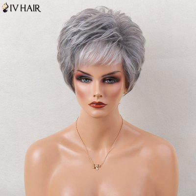Siv Hair Short Layered Shaggy Slightly Curled Side Bang Colormix Human Hair Wig