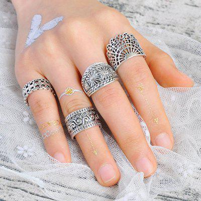 Flower Engraved Wide Gypsy Ring Set