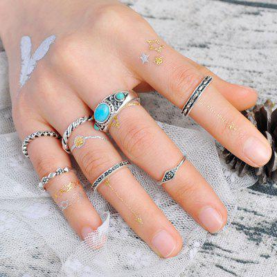 Faux Turquoise Engraved Gypsy Ring Set