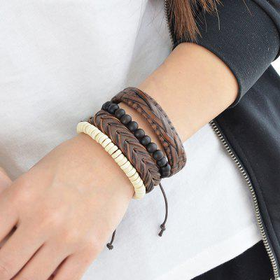 Faux Leather Layered Braid Beaded Friendship Bracelets
