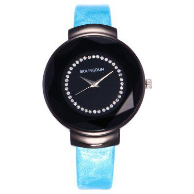 Buy LAKE BLUE Faux Leather Rhinestone Embellished Quartz Watch for $6.29 in GearBest store