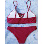 Lace Up Cami Bikini Maillots de bain - ROUGE