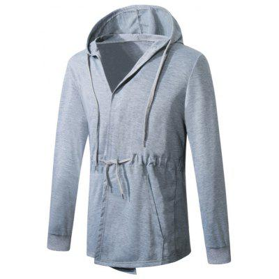 Drawstring Hooded Slim Coat