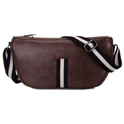 Contrast Strap Faux Leather Crossbody Bag