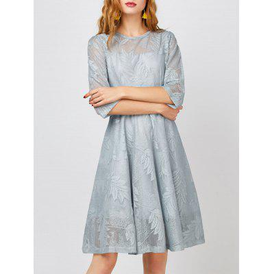 Buy GRAY Semi Sheer A Line Leaves Dress for $24.39 in GearBest store