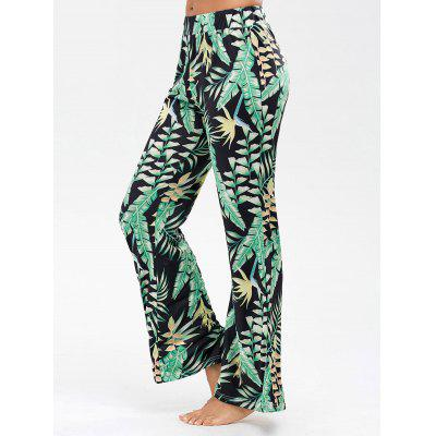 Buy BLACK L Palazzo Pants with Palm Leaf Print for $16.93 in GearBest store