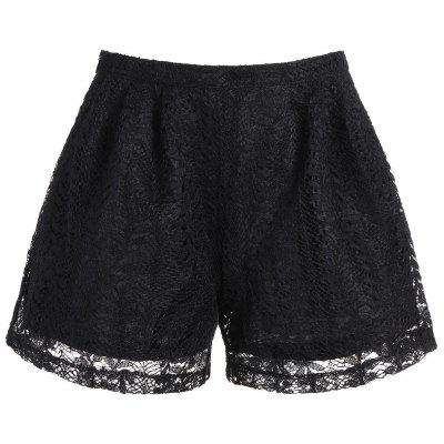 High Waisted Double Layer Lace Shorts
