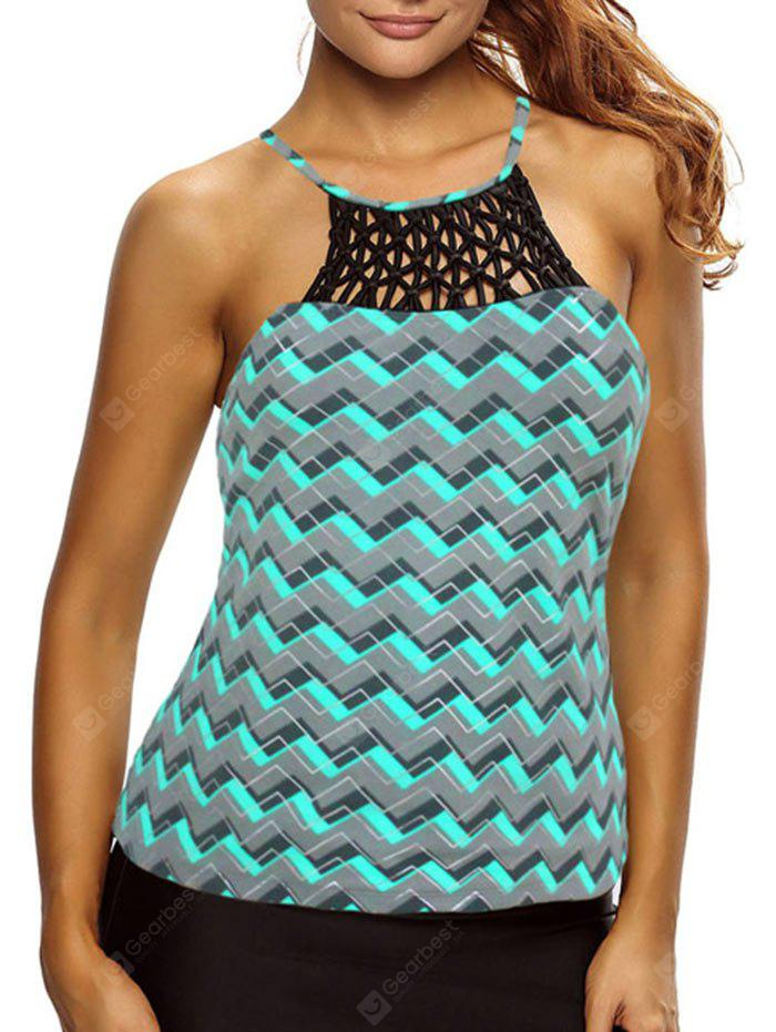 High Neck Cross Back Zigzag Swim Top