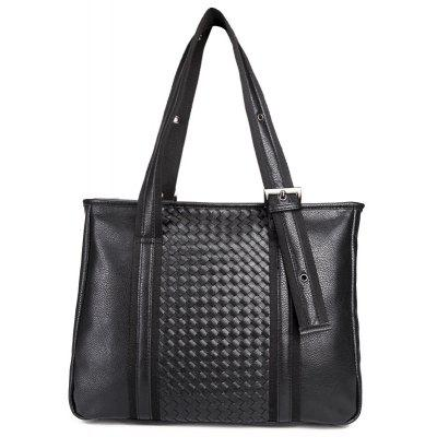 Eyelets Woven Faux Leather Tote Bag