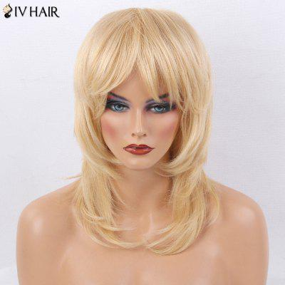 Siv Hair Medium Side Bang Layered Tail Adduction Straight Human Hair Wig