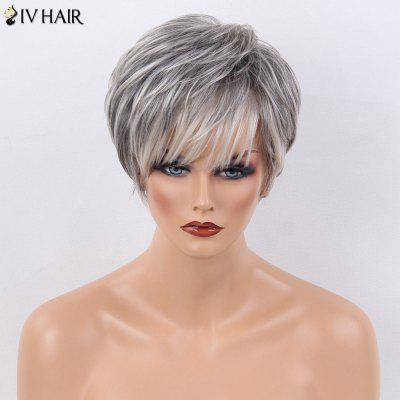 Buy COLORMIX Siv Hair Short Side Bang Layered Natural Straight Human Hair Wig for $55.96 in GearBest store