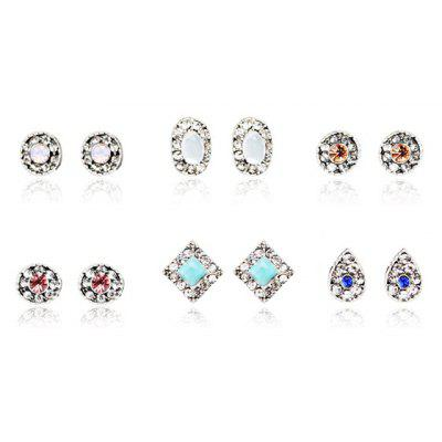 Artificial Turquoise Opal Rhinestone Oval Stud Earring Set