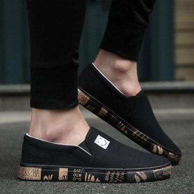 Buy BLACK Letter Printed Elastic Canvas Shoes for $31.76 in GearBest store