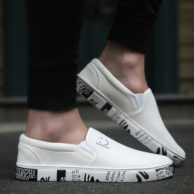 Buy WHITE Letter Printed Elastic Canvas Shoes for $31.76 in GearBest store
