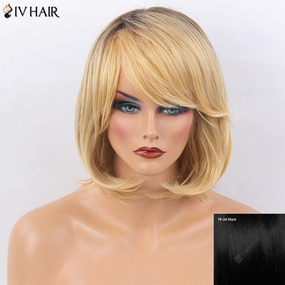Buy Siv Hair Side Bang Straight Tail Adduction Short Bob Colormix Human Wig JET BLACK #01