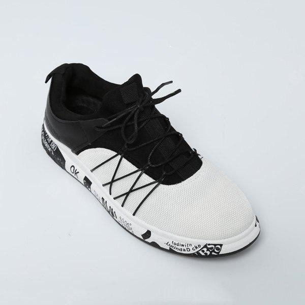 WHITE Round Toe Color Block Mesh Sneakers