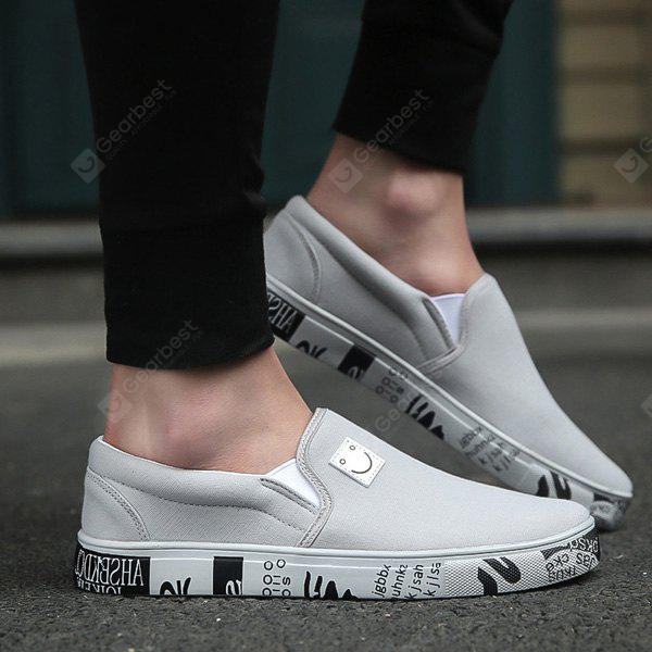 GRAY Letter Printed Elastic Canvas Shoes