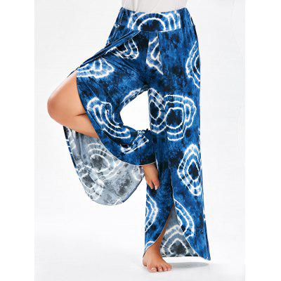 Bohemian Plus Size Tie Dye High Slit Culotte Pants