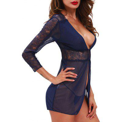 Mesh See Through Lace Babydoll OutfitPajamas<br>Mesh See Through Lace Babydoll Outfit<br><br>Embellishment: Lace<br>Material: Polyester, Spandex<br>Package Contents: 1 x Babydoll  1 x T-Back<br>Pattern Type: Solid<br>Weight: 0.1100kg