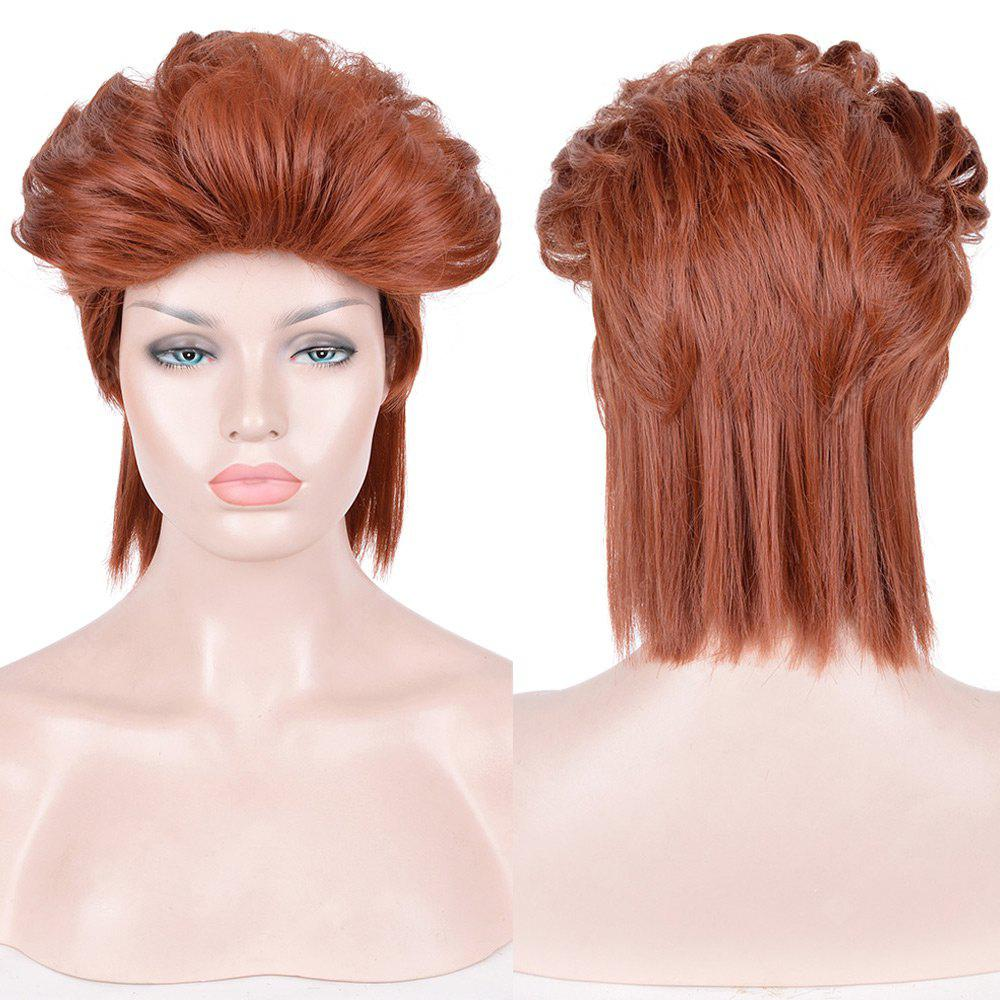 Short Shaggy Slicked Back Straight Synthetic Cosplay Anime Wig