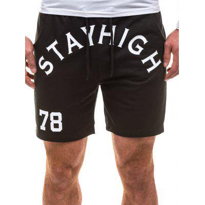 Number Graphic Print Drawstring Sweat Shorts