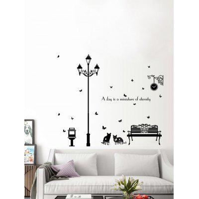 Buy BLACK Lamppost Cat Butterfly Quotes Vinyl Wall Sticker for $4.92 in GearBest store