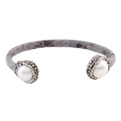 Buy GRAY Faux Leather Pearl Rhinestone Cuff Bracelet for $10.89 in GearBest store