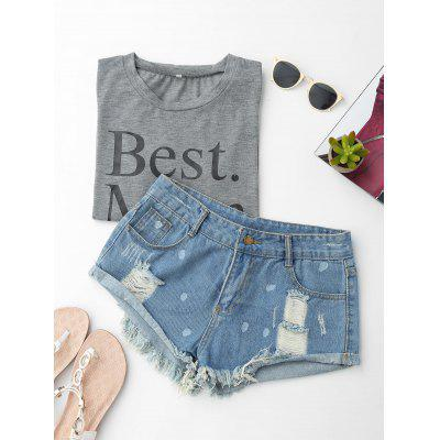 Tassels Dots Cuffed Ripped Denim Shorts