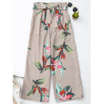 Striped Floral Wide Leg Pants With Belt