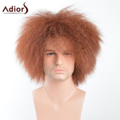 Adiors Short Shaggy Natural Afro Men Synthetic Wig