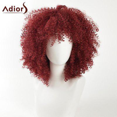 Buy WINE RED Adiors Fashion Medium Shaggy Afro Kinky Curly Synthetic Hair for $23.22 in GearBest store