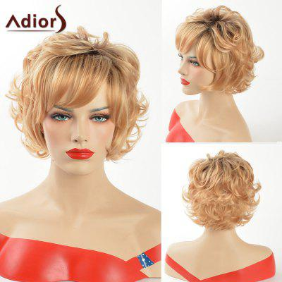 Buy COLORMIX Adiors Short Dark Root Curly Side Bang Synthetic Wig for $15.97 in GearBest store