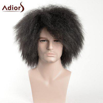 Adiors Short Shaggy Side Bang Afro Men Synthetic Wig
