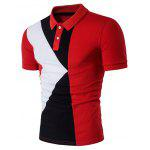 Turndown Collar Color Block Panel Design Polo T-Shirt - RED