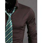 Fall Hot Sale Simple Pure Color Fitting Casual Long Sleeve Shirt  For Men - COFFEE