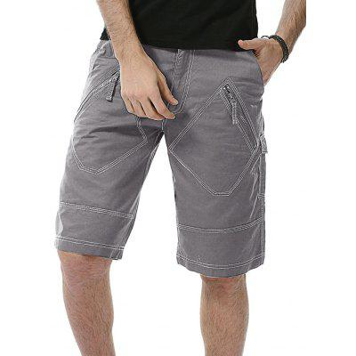Buy GRAY 40 Multi Zipper Pockets Bermuda Shorts for $31.91 in GearBest store
