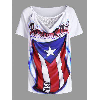 Cowl Neck American Flag Airbrush Lace Panel T-Shirt